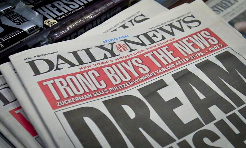 Copies of the New York Daily News on 5 September 2017 after the tabloid was acquired by then Tronc.