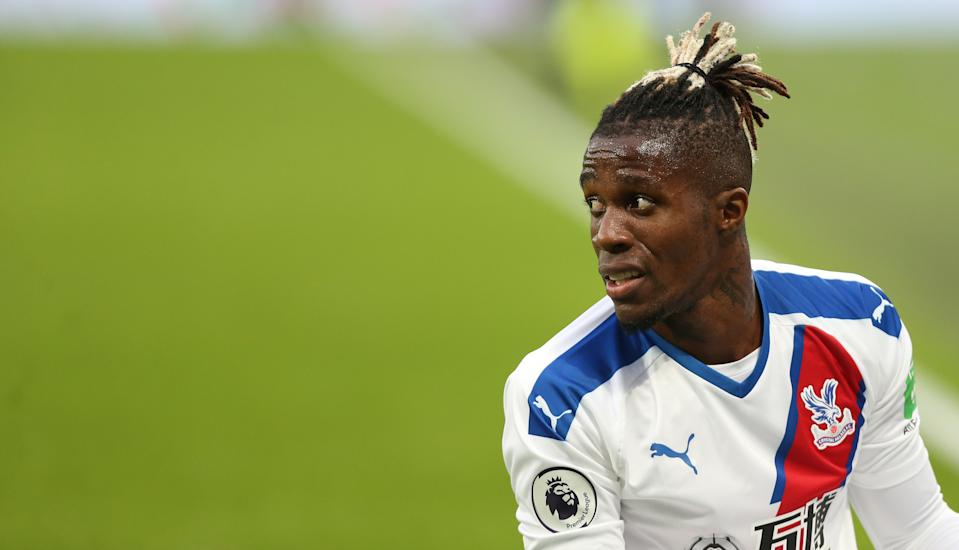 LONDON, ENGLAND - OCTOBER 05: Crystal Palace's Wilfried Zaha during the Premier League match between West Ham United and Crystal Palace at London Stadium on October 5, 2019 in London, United Kingdom. (Photo by Rob Newell - CameraSport via Getty Images)