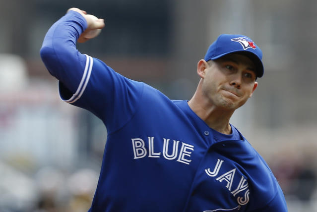 Toronto Blue Jays starting pitcher Dustin McGowan throws against the Pittsburgh Pirates in the first inning of a baseball game on Sunday, May 4, 2014, in Pittsburgh. (AP Photo/Keith Srakocic)