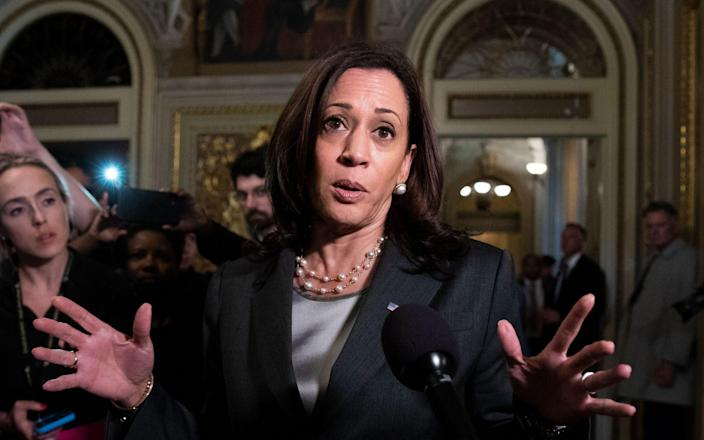 US Vice President Kamala Harris, C, spoke to members of the news media outside the Senate Capitol in Capitol Hill, Washington, DC, after the Senate failed to promote election reform legislation.  , USA, June 22, 2021. The election reform bill drafted by Democrats was blocked by Republicans in a partisan vote. -Shutterstock
