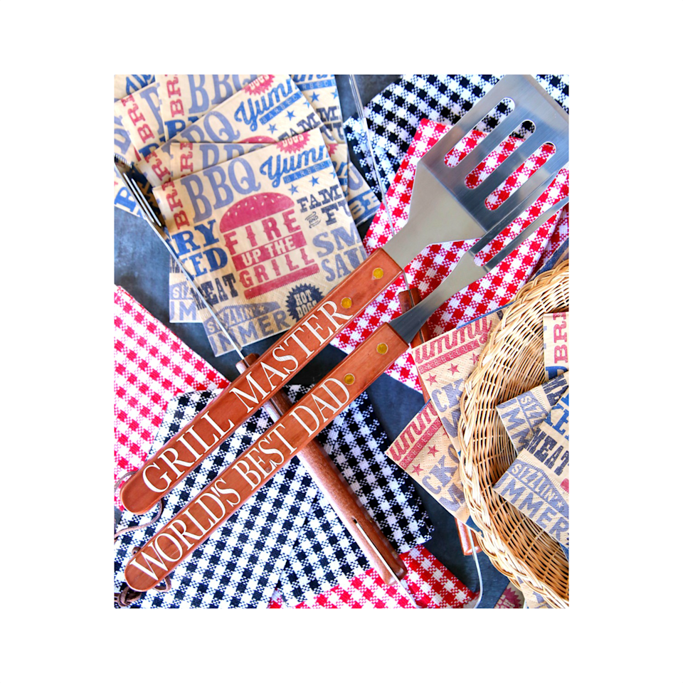 """<p>Use a cutting machine, like the Cricut, to make personalized decals in a flash. We love the idea of grill tools, but this is a technique you can apply to nearly anything dad adores.</p><p><a href=""""https://www.happygoluckyblog.com/fathers-day-gift-idea-bbq-grill-set/"""" rel=""""nofollow noopener"""" target=""""_blank"""" data-ylk=""""slk:Get the tutorial."""" class=""""link rapid-noclick-resp"""">Get the tutorial.</a></p><p><a class=""""link rapid-noclick-resp"""" href=""""https://www.amazon.com/Cricut-PC2004195-Maker-Champagne/dp/B072VYPWM4/?tag=syn-yahoo-20&ascsubtag=%5Bartid%7C10072.g.27603456%5Bsrc%7Cyahoo-us"""" rel=""""nofollow noopener"""" target=""""_blank"""" data-ylk=""""slk:SHOP CRICUT"""">SHOP CRICUT</a></p>"""