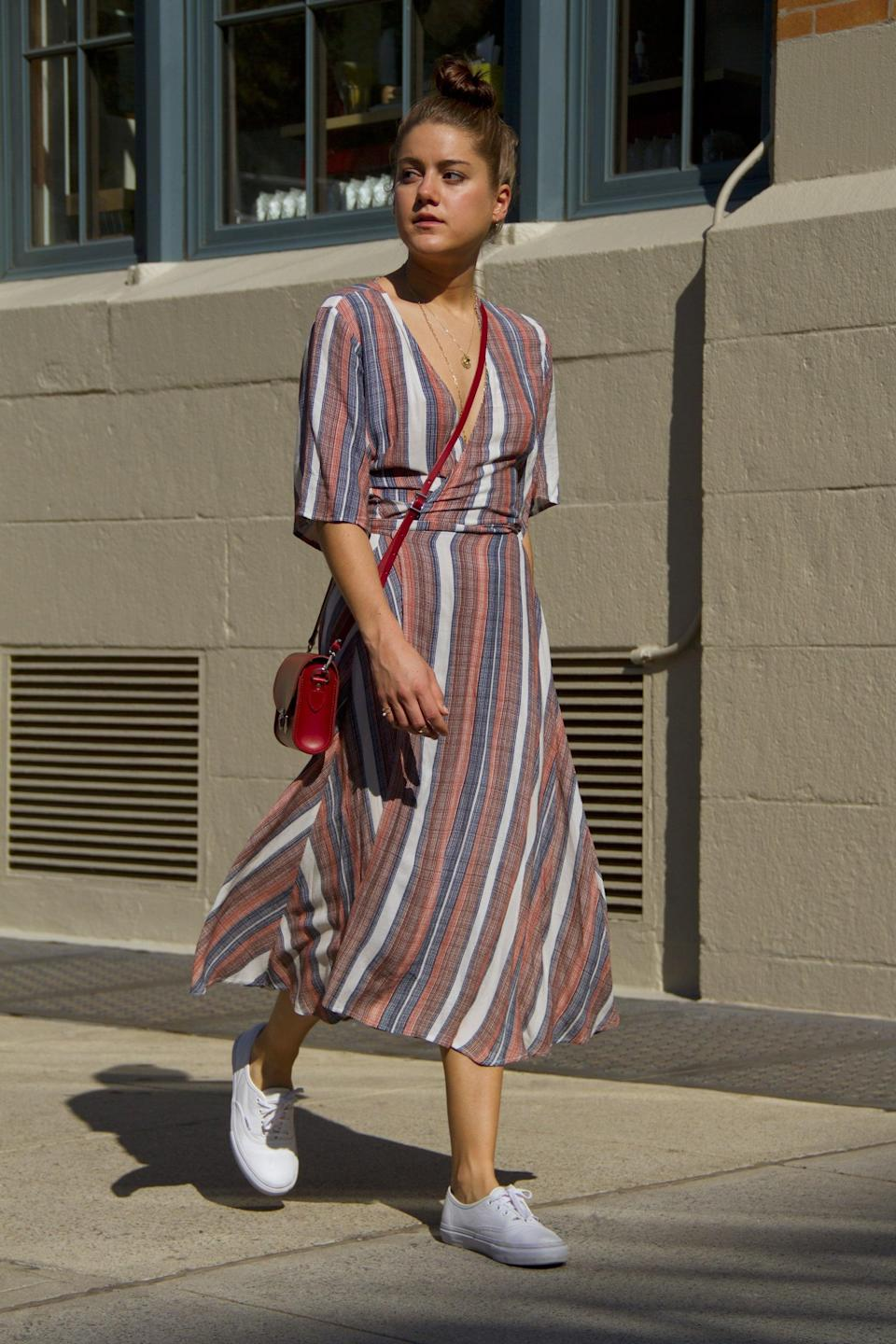<p>An easy dress paired with everyday sneakers makes for an irresistible combination.</p>