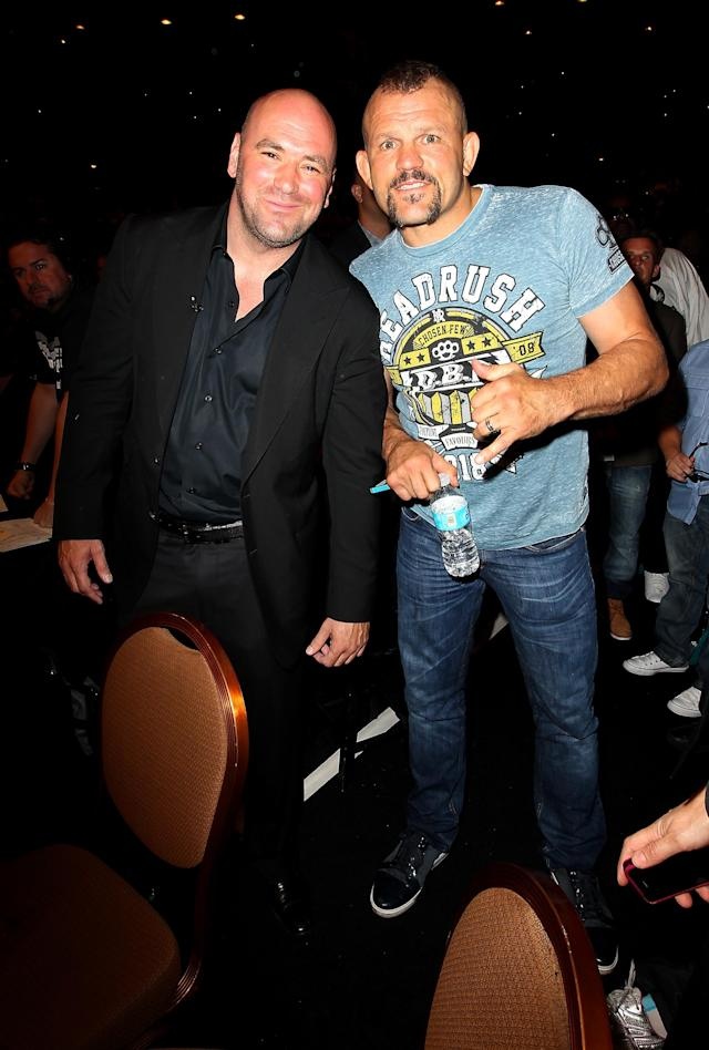 LAS VEGAS, NV - JULY 7: (L-R) Dana White and Chuck Liddell in attendance during UFC 148 inside MGM Grand Garden Arena on July 7, 2012 in Las Vegas, Nevada. (Photo by Jeff Bottari/Zuffa LLC via Getty Images)