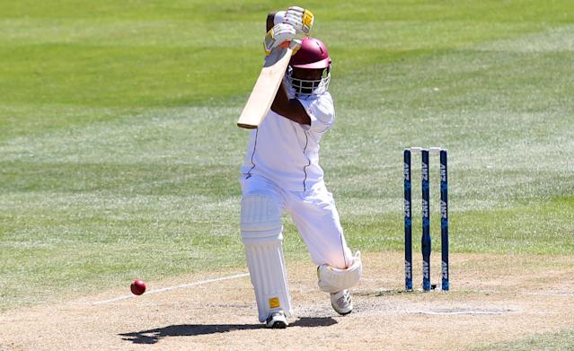 DUNEDIN, NEW ZEALAND - DECEMBER 05: Narsingh Deonarine of the West Indies bats during day three of the first test match between New Zealand and the West Indies at University Oval on December 5, 2013 in Dunedin, New Zealand. (Photo by Rob Jefferies/Getty Images)