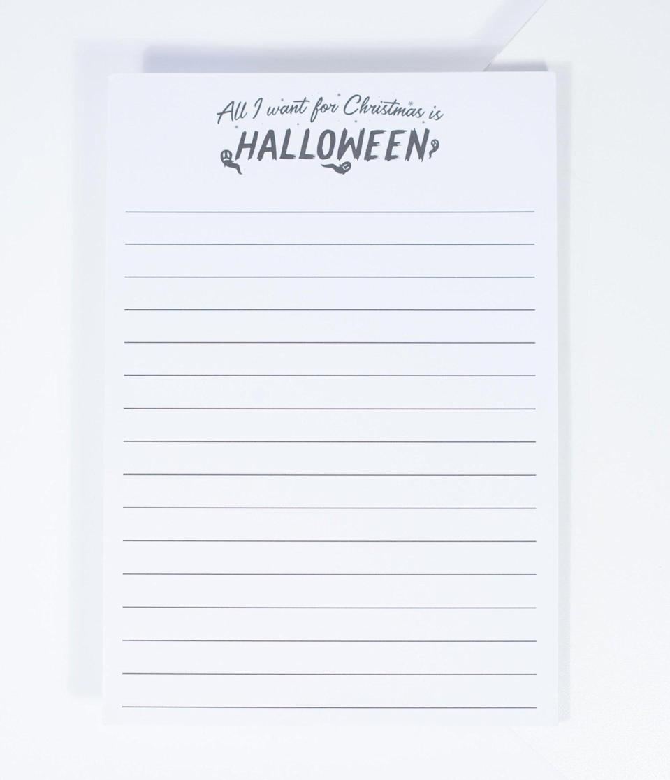 "<p>Get a head start on your <a class=""link rapid-noclick-resp"" href=""https://www.popsugar.com/Halloween"" rel=""nofollow noopener"" target=""_blank"" data-ylk=""slk:Halloween"">Halloween</a> planning with the <span>Unique Vintage All I Want For Christmas Is Halloween Notepad</span> ($24).</p>"