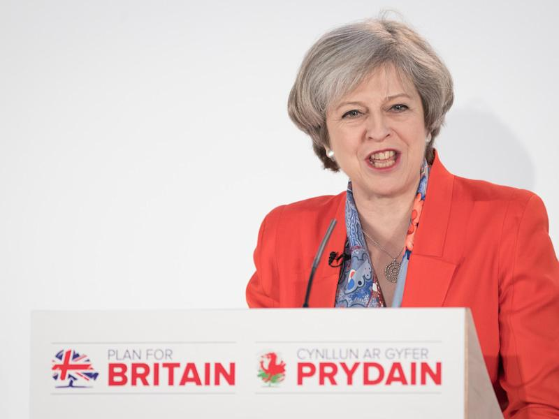 Theresa May speaks at the Conservative Spring Forum in Cardiff: Getty