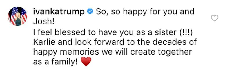 Ivanka Trump comments on Karlie Kloss's engagement