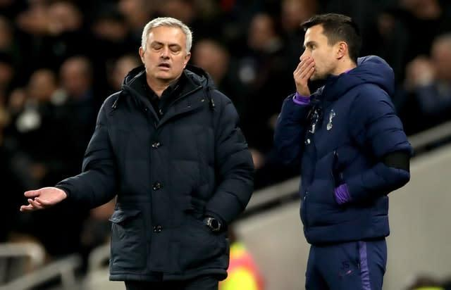 Tottenham manager Jose Mourinho, left, thinks racism is a wider problem in Great Britain (Nick Potts/PA)