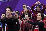 <p>Canada's Scott Moir (L) and Canada's Tessa Virtue (C) react after competing in the figure skating team event ice dance free dance during the Pyeongchang 2018 Winter Olympic Games at the Gangneung Ice Arena in Gangneung on February 12, 2018. / AFP PHOTO / Roberto SCHMIDT </p>