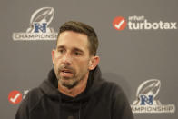 San Francisco 49ers head coach Kyle Shanahan speaks at the team's NFL football training facility in Santa Clara, Calif., Thursday, Jan. 16, 2020. The 49ers are scheduled to host the Green Bay Packers in the NFC Championship game on Sunday. (AP Photo/Jeff Chiu)