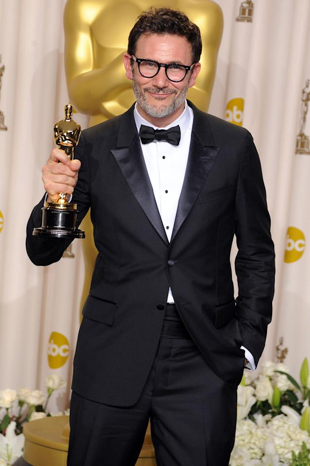 Director Michel Hazanavicius poses in the press room at the 84th Annual Academy Awards held at the Hollywood & Highland Center on February 26, 2012 in Hollywood, California.