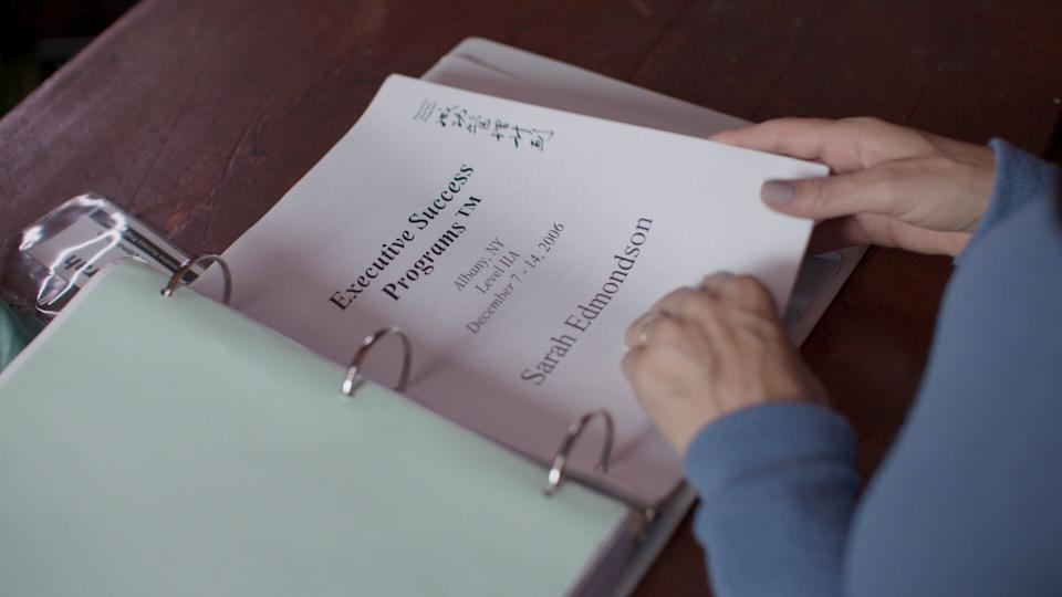 """Sarah Edmondson's NXIVM course materials from 2006, as seen on """"The Vow."""" (Photo: Crave / HBO)"""