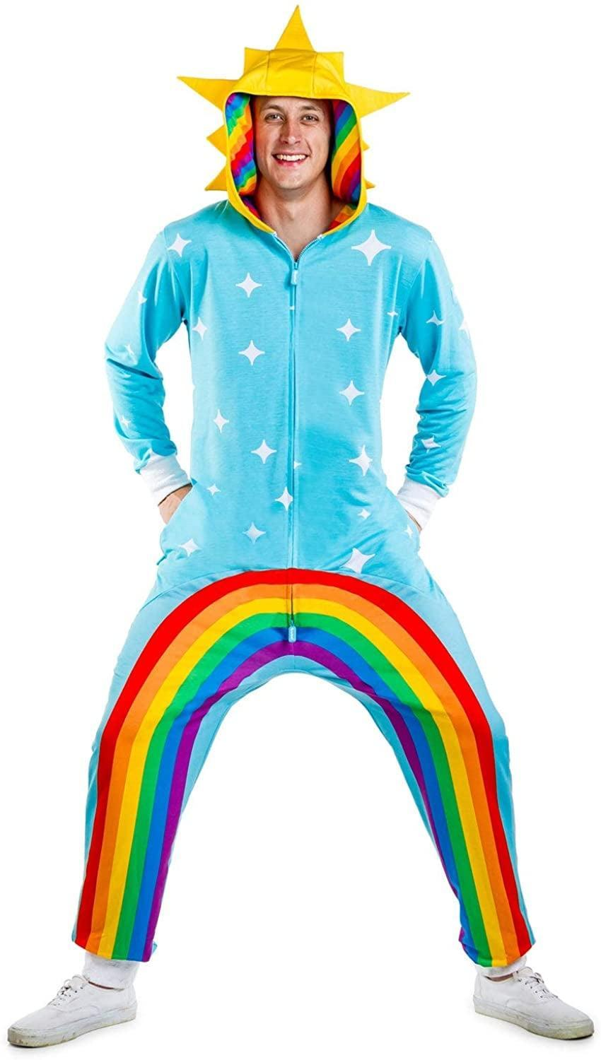 <p>Go for a cheerful pick with this <span>Tipsy Elves Rainbow Power-Stance Costume</span> ($60).</p>