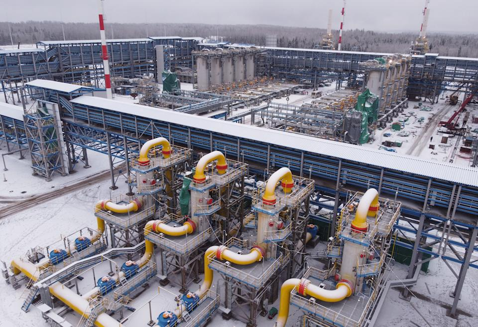 Filter separators, center, at the Gazprom PJSC Slavyanskaya compressor station, the starting point of the Nord Stream 2 gas pipeline, in Ust-Luga, Russia, on Thursday, Jan. 28, 2021. (Andrey Rudakov/Bloomberg via Getty Images)
