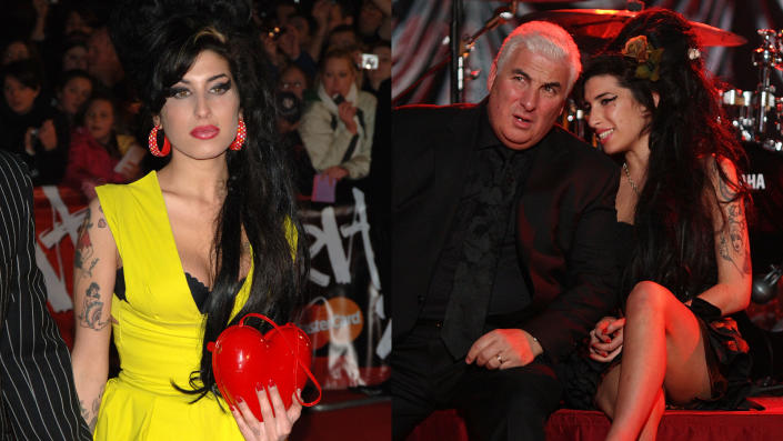 Amy Winehouse's heart-shaped bag and Grammy Awards skirt are among the items set to be sold. (Ian West/PA Images/Peter Macdiarmid/Getty/NARAS)