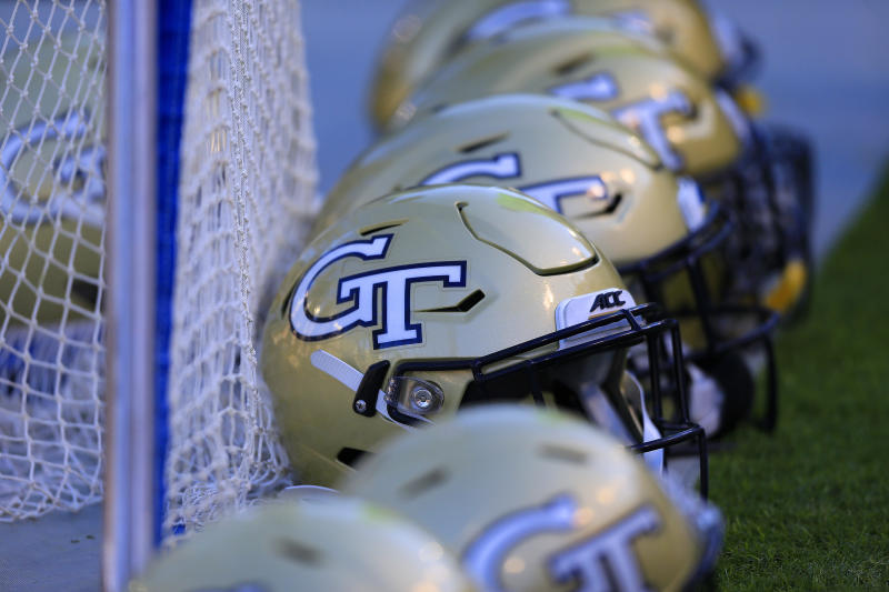 ATLANTA, GA - NOVEMBER 02: Team helmets on the sidelines of the Georgia Tech bench during the college football game between the University of Pittsburgh Panthers and the Georgia Tech Yellow Jackets on November 02, 2019 at Bobby Dodd Stadium at Historic Grant Field in Atlanta, Georgia. (Photo by David John Griffin/Icon Sportswire via Getty Images)