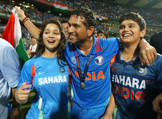 Sachin Tendulkar of India celebrates his children Sara and Arjun after india won the world cup during the 2011 ICC World Cup Final between India and Sri Lanka at the Wankhede Stadium on April 2, 2011 in Mumbai, India.