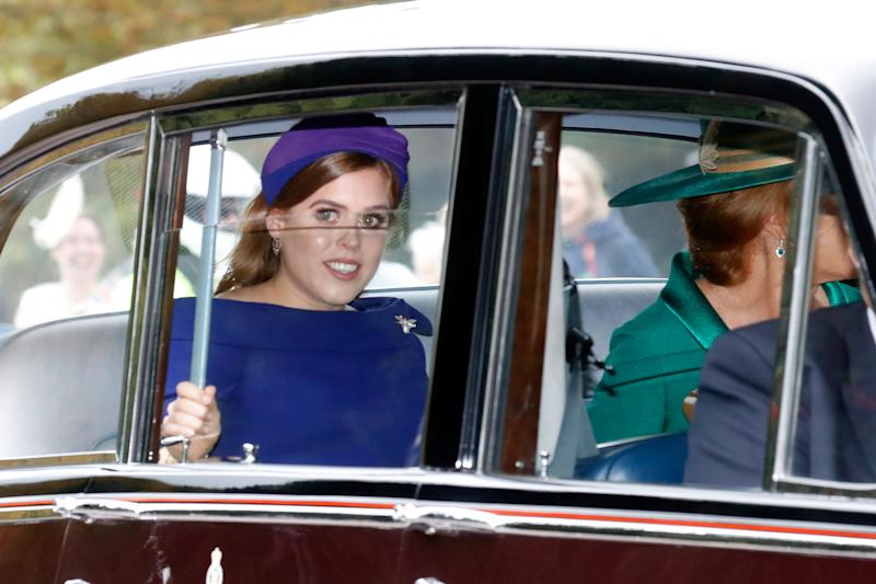 Princess Beatrice of York and her mother Sarah Ferguson arrive at the wedding.