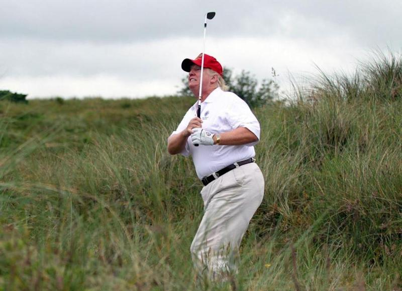 On the campaign trail, Mr Trump said he would not have time to play golf once President because he would be too busy: Getty