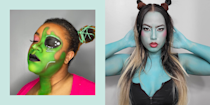 """<p class=""""body-dropcap"""">In my <em>extensive</em> experience as an avid Halloween enthusiast (I consider myself an expert on all things <a href=""""https://www.cosmopolitan.com/style-beauty/beauty/a62042/halloween-makeup-tutorials/"""" rel=""""nofollow noopener"""" target=""""_blank"""" data-ylk=""""slk:Halloween makeup"""" class=""""link rapid-noclick-resp"""">Halloween makeup</a>—<a href=""""https://www.cosmopolitan.com/style-beauty/beauty/g33247158/cute-clown-halloween-makeup-tutorials/"""" rel=""""nofollow noopener"""" target=""""_blank"""" data-ylk=""""slk:clown makeup"""" class=""""link rapid-noclick-resp"""">clown makeup</a>, <a href=""""https://www.cosmopolitan.com/style-beauty/beauty/a22092322/fairy-halloween-makeup-tutorial/"""" rel=""""nofollow noopener"""" target=""""_blank"""" data-ylk=""""slk:fairy makeup"""" class=""""link rapid-noclick-resp"""">fairy makeup</a>, <a href=""""https://www.cosmopolitan.com/style-beauty/beauty/g37929790/bat-makeup-tutorial-ideas/"""" rel=""""nofollow noopener"""" target=""""_blank"""" data-ylk=""""slk:bat makeup"""" class=""""link rapid-noclick-resp"""">bat makeup</a>, etc.), I've never really been that into alien makeup. I mean, in theory, it could look really cool. But in reality, alien makeup always seems to consist of a hard plastic headband and a ton of green face paint—or worse, a sweaty rubber mask. Where is the alien-style winged eyeliner? The glitter? The bomb-AF lip? Where are the cool alien half-face makeup looks that allow you to be the perfect split of glam and extraterrestrial?</p><p>So this year, instead of settling for the blah and basic, I went out (ahem, pulled out my phone from my horizontal couch position) in search of all the alien makeup looks that are actually worth your time this Halloween. Now please allow me to present the 20 best alien makeup ideas and tutorials—from the <a href=""""https://www.youtube.com/watch?v=LjQ8sECcJBU"""" rel=""""nofollow noopener"""" target=""""_blank"""" data-ylk=""""slk:glam alien"""" class=""""link rapid-noclick-resp"""">glam alien</a> to the <a href=""""https://www.instagram.com/p/CTVELAbNsSI/"""" rel=""""nofollow noopener"""