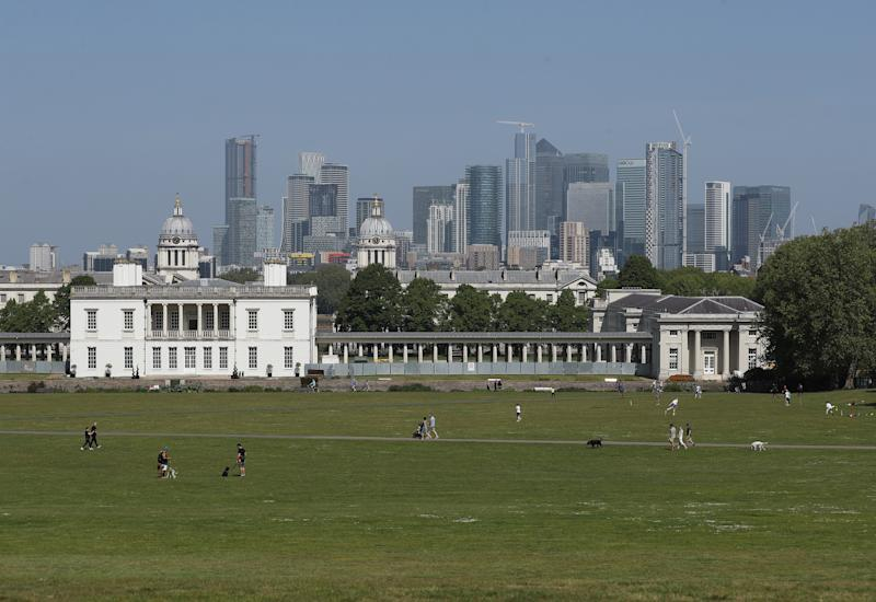 People enjoying the warm weather in Greenwich Park, London, as the UK continues in lockdown to help curb the spread of the coronavirus. (Photo by Yui Mok/PA Images via Getty Images)