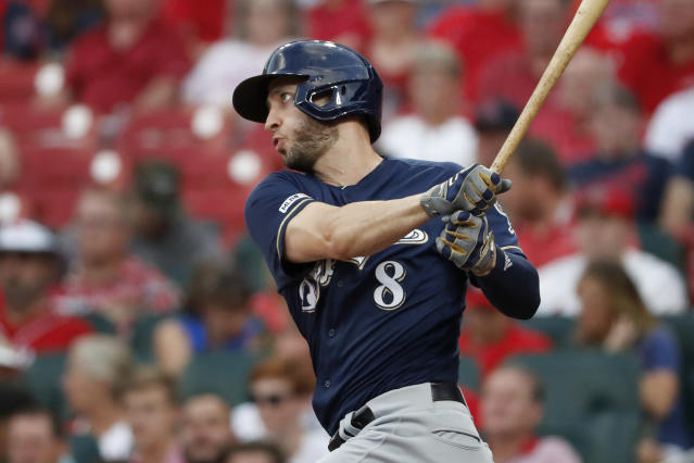 Milwaukee Brewers' Ryan Braun doubles during the first inning of a baseball game against the St. Louis Cardinals Wednesday, Aug. 21, 2019, in St. Louis. (AP Photo/Jeff Roberson)