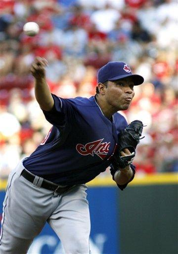Cleveland Indians' Jeanmar Gomez pitches against the Cincinnati Reds in the second inning of an interleague baseball game in Cincinnati, Tuesday, June 12, 2012. AP Photo/Tom Uhlman)