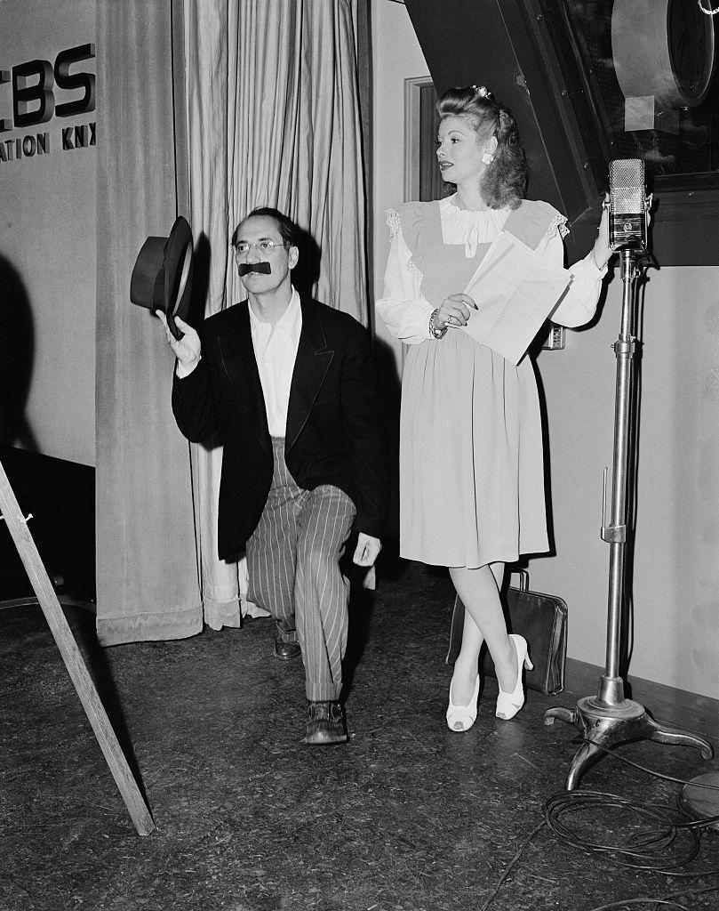 <p>Comedians Lucille and Groucho Marx paired up for CBS's <em>Hollywood Victory Caravan </em>in 1945<em>, </em>which toured around the country in support of World War II.</p>