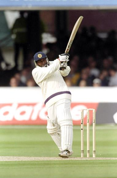 18 Jul 1998:  Aravinda De Silva of the Rest of the World XI in action during the Princess of Wales Memorial Match against Marylebone Cricket Club at Lord's in London. The Rest of the World won the match by six wickets. \ Mandatory Credit: Lawrence  Griffiths/Allsport