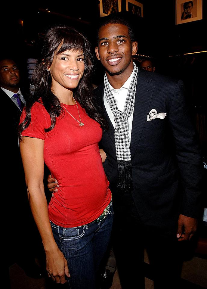 "Supermodel Veronica Webb strikes a pose with Hornet's point guard Chris Paul. Jamie McCarthy/<a href=""http://www.wireimage.com"" target=""new"">WireImage.com</a> - September 10, 2008"