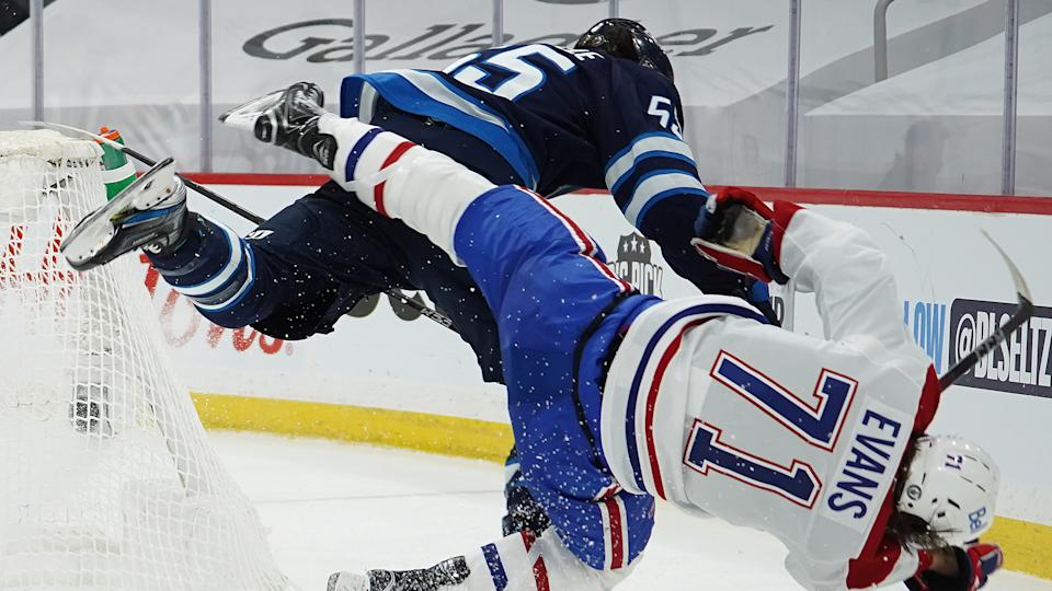 Winnipeg Jets forward Mark Scheifele has been suspended four games for his hit on Montreal Canadiens forward Jake Evans. (David Lipnowski/Getty Images)