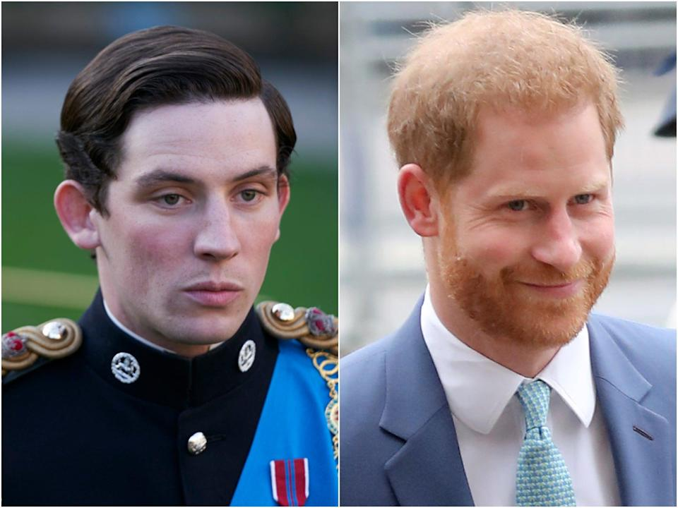 Josh O'Connor in The Crown and Prince Harry (Netflix/Getty)