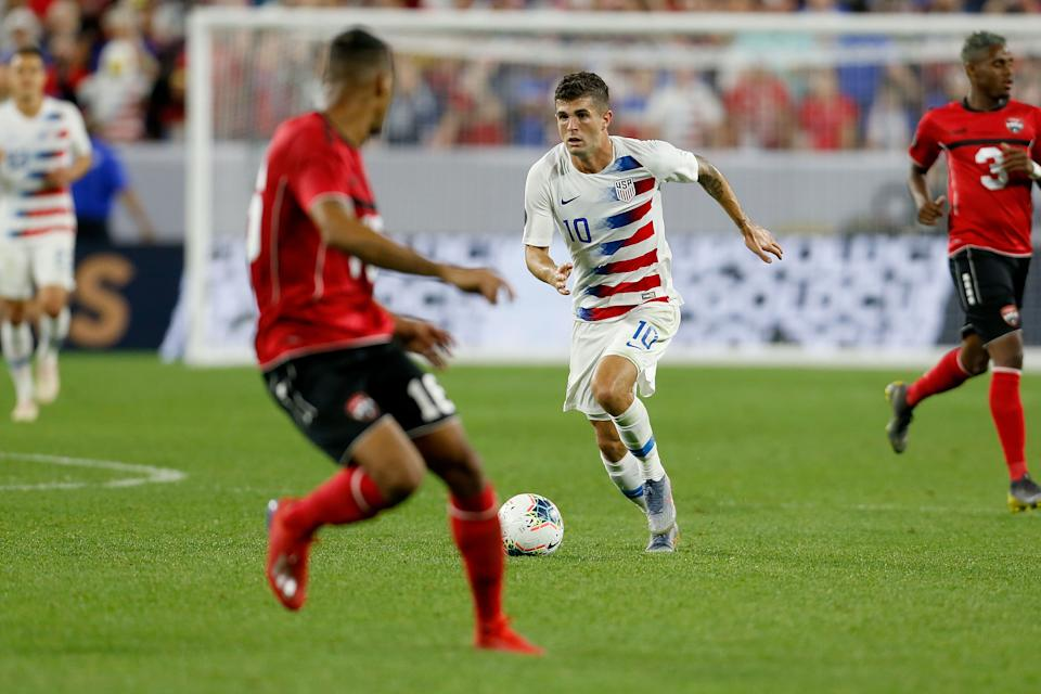 CLEVELAND, OH - JUNE 22:  Christian Pulisic #10 of the USA controls the ball during the CONCACAF Gold Cup Group D match against Trinidad and Tobago at FirstEnergy Stadium on June 22, 2019 in Cleveland, Ohio. The USA defeated Trinidad and Tobago 6-0. (Photo by Kirk Irwin/Getty Images)
