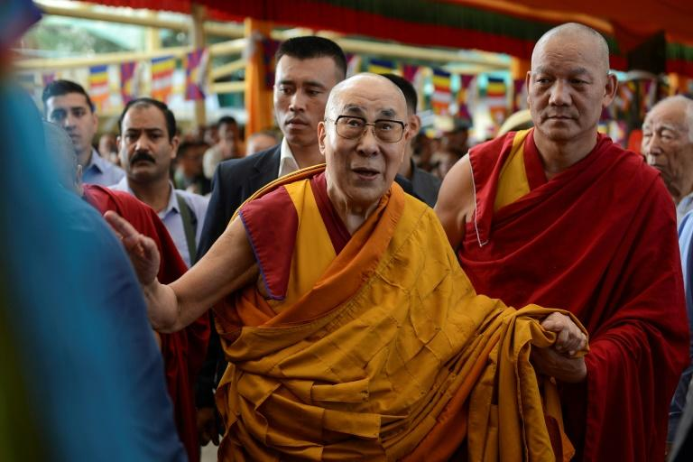 The Dalai Lama arrives for prayers wishing him a long life at the Tsuglagkhang temple in McLeod Ganj, India in September 2019 -- the US wants the UN to look at the issue of who will succeed him (AFP Photo/Lobsang Wangyal)
