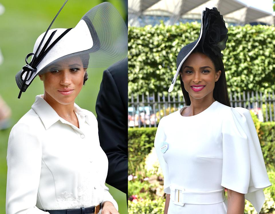 Meghan Markle (left) and Ciara (right) both wore Philip Treacy hats to Royal Ascot. (Photos: Getty Images)