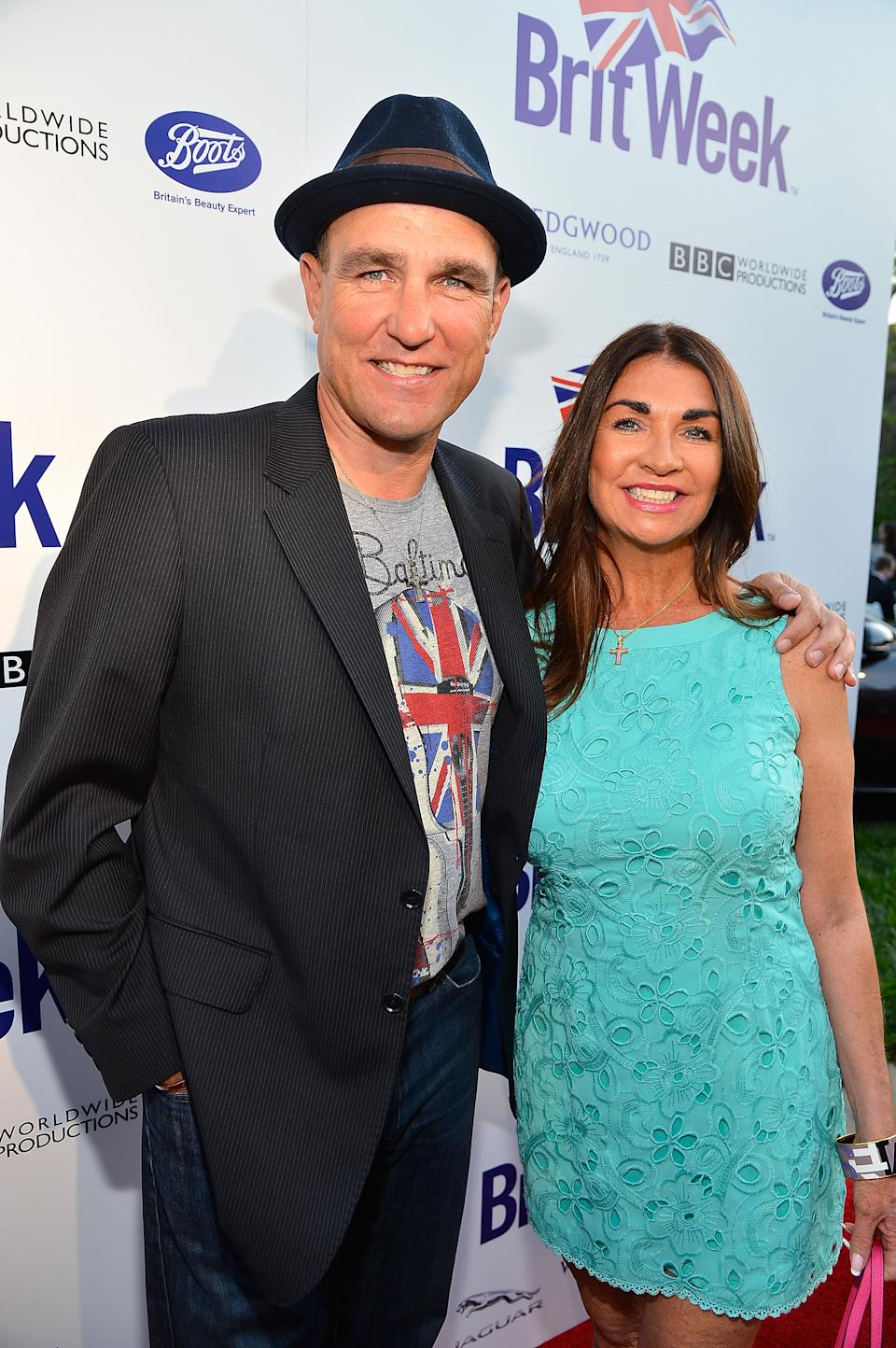 Vinnie Jones (L) and Tanya Jones attend the launch of the Seventh Annual BritWeek Festival