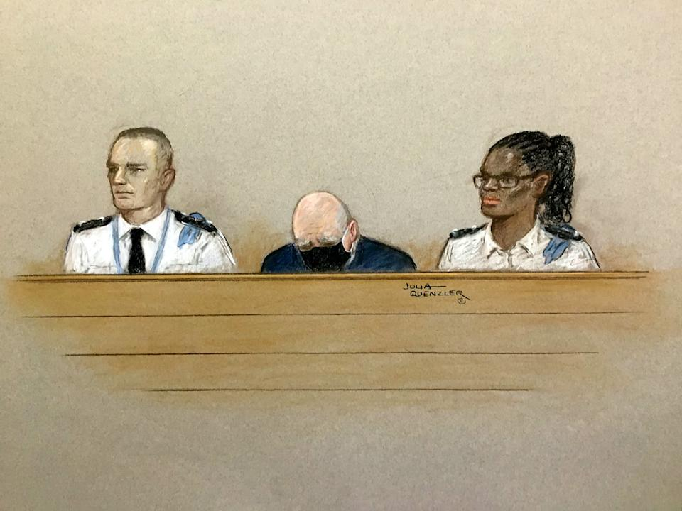 Artist impression of Wayne Couzens with his head bowed during the sentencing hearing at the Old Bailey, London. (Julia Quenzler/SWNS)