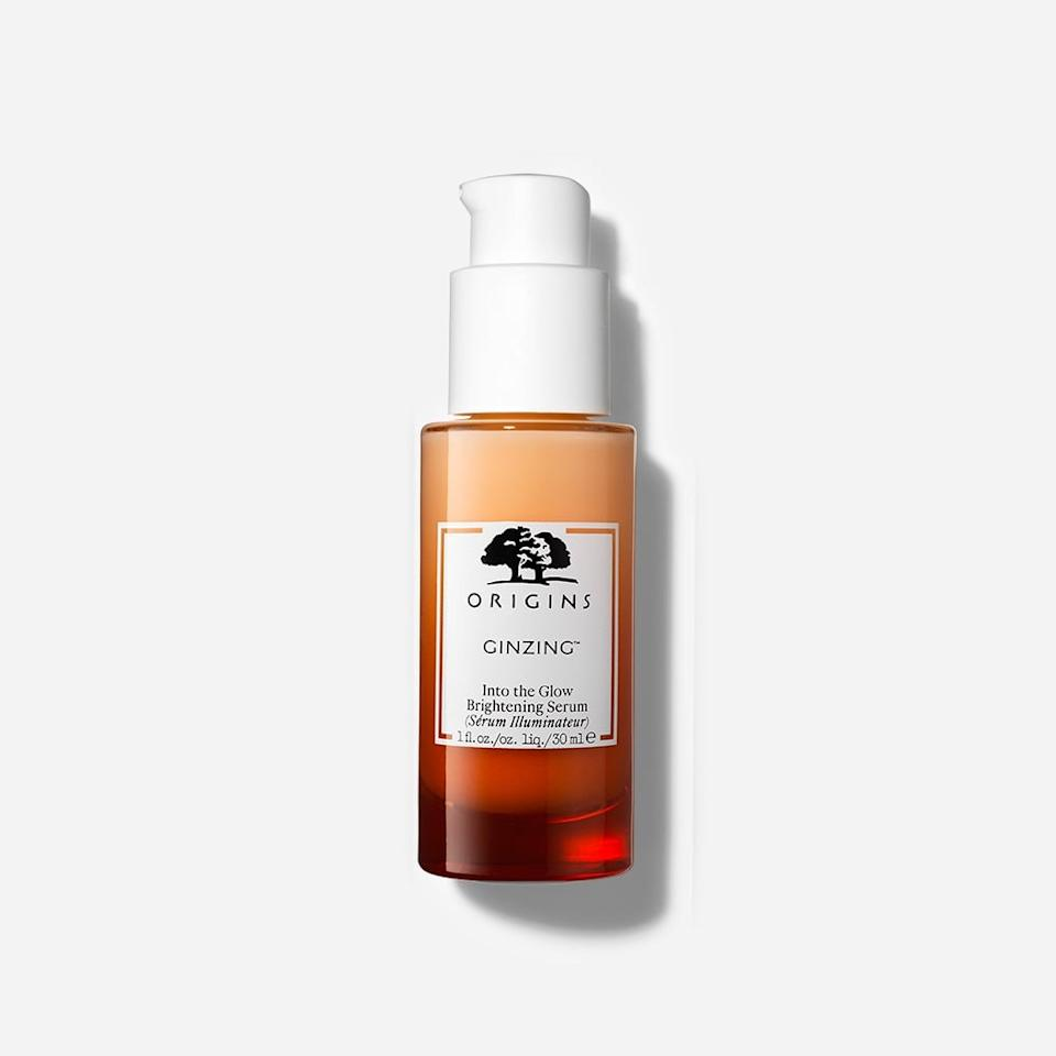 """<p>Once I identified the type of vitamin C in this <product href=""""http://www.sephora.com/product/origins-ginzing-into-glow-brightening-serum-P462891"""" target=""""_blank"""" class=""""ga-track"""" data-ga-category=""""internal click"""" data-ga-label=""""http://www.sephora.com/product/origins-ginzing-into-glow-brightening-serum-P462891"""" data-ga-action=""""body text link"""">Origins GinZing Into the Glow Brightening Serum</product> ($44), I began looking into what makes it different than the others I've seen in the past. I found that, <a href=""""https://www.popsugar.com/beauty/Should-I-Use-Vitamin-C-My-Skincare-44579913"""" class=""""ga-track"""" data-ga-category=""""internal click"""" data-ga-label=""""https://www.popsugar.com/beauty/Should-I-Use-Vitamin-C-My-Skincare-44579913"""" data-ga-action=""""body text link"""">when compared with L-ascorbic acid</a>, this lightweight serum's tetrahexyldecyl ascorbate is a more stable form that doesn't exfoliate as much, is often less irritating, and is oil-soluble so it easily penetrates skin, too.</p> <p>All those things were true for me I didn't see any redness or peeling, and I couldn't even tell I was wearing it when I touched my face. My complexion also looked plumper - most likely thanks to hyaluronic acid - and, while the product smells like a big glass of orange juice, there's actually a dose of caffeine and green coffee seed extract to support cell turnover in there as well.</p>"""