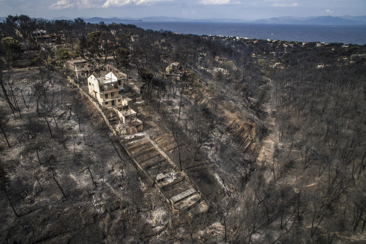 <p>An aerial view shows damage caused by a wildfire near the village of Mati, near Athens, on July 24, 2018. More than seventy have died and 170 have been injured in wildfires ravaging woodland and villages in the Athens region, as Greek authorities rush to evacuate residents and tourists stranded on beaches along the coast on July 24, 2018. The death toll soared with a Red Cross official reporting the discovery of 26 bodies in the courtyard of a villa at the seaside resort of Mati. (Photo from Savvas Karmaniolas/AFP/Getty Images) </p>