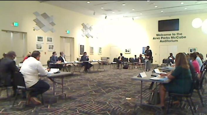 On Tuesday, Oct. 12, 2021, Miami-Dade's Independent Civilian Panel held its first meeting since being disbanded in 2009. Open to the public, the meeting was held at the county's main library in downtown Miami and on Zoom, pictured here.