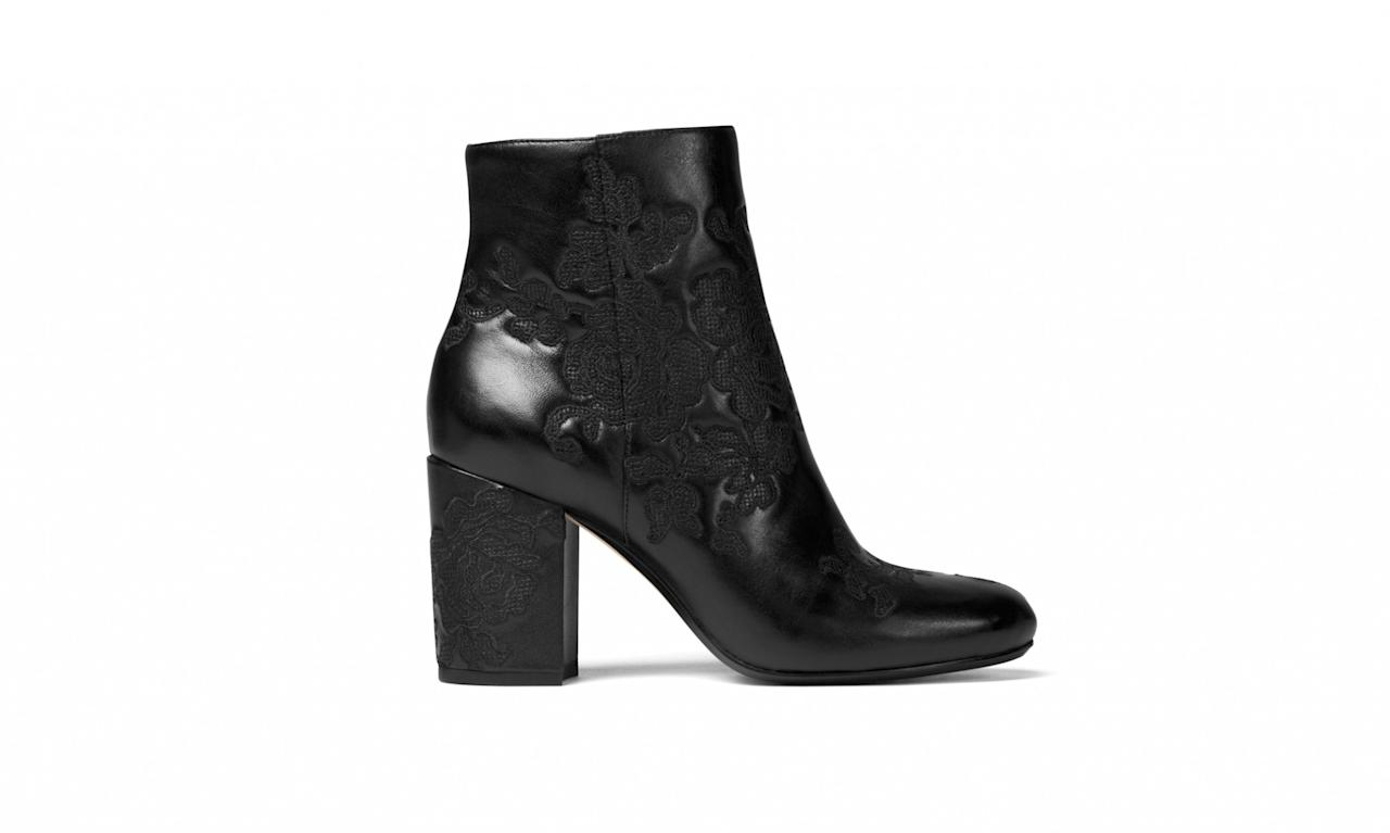 "<p>Claire embossed-leather ankle boot, $235, <a rel=""nofollow"" href=""http://www.michaelkors.com/claire-embossed-leather-ankle-boot/_/R-US_40R7CLME5L?No=2&color=0001"">MichaelMichaelKors.com</a> </p>"