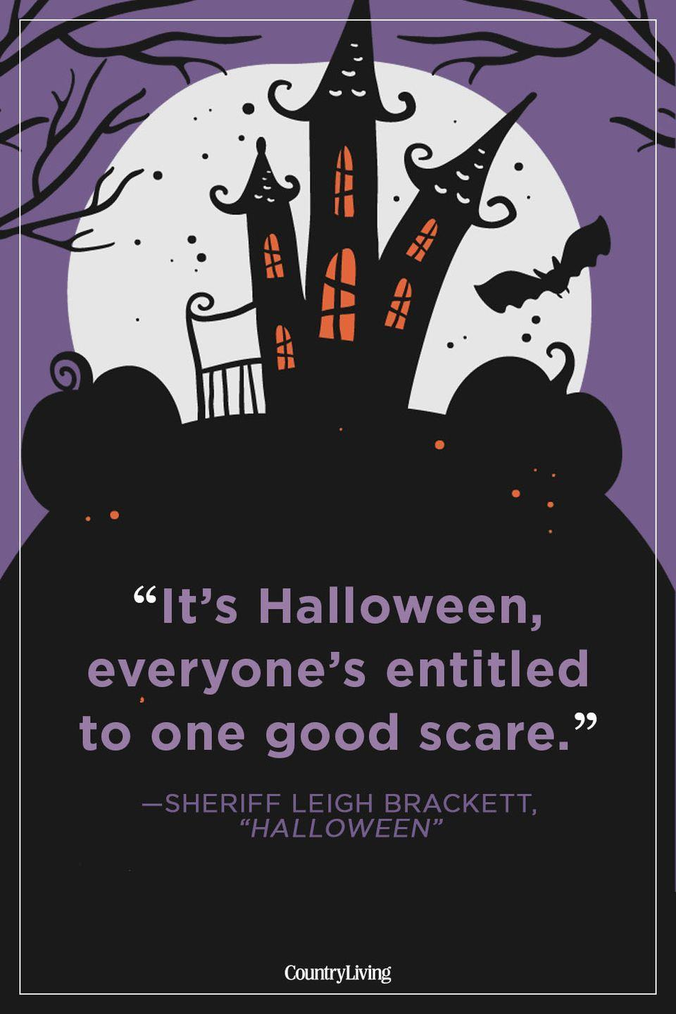 """<p>""""It's Halloween, everyone's entitled to one good scare.""""</p>"""