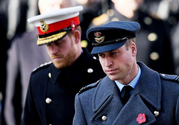 PHOTO: Prince William and Prince Harry at the Remembrance Day Service at the Cenotaph, in London, Nov. 10, 2019. (James Veysey/REX via Shutterstock)