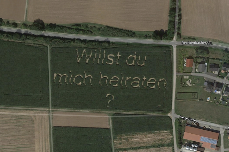Mr Schwarz' wife-to-be spotted the question using a drone. Source: Google Maps