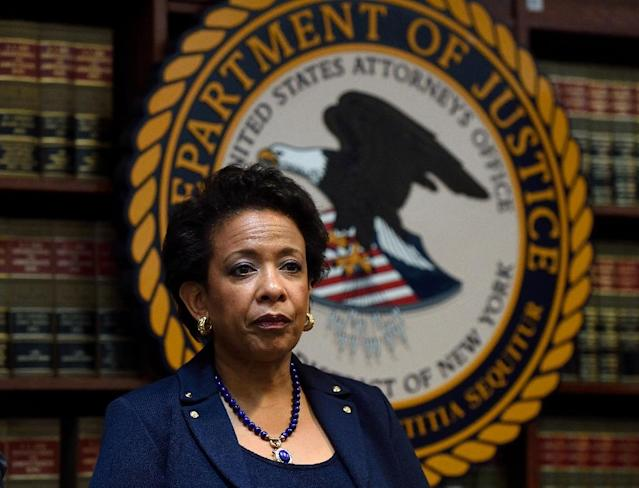 US Attorney General Loretta E. Lynch pictured at a news conference in New York (AFP Photo/Don Emmert)
