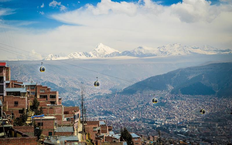 La Paz's cable cars cover eight lines and 17 miles - This content is subject to copyright.