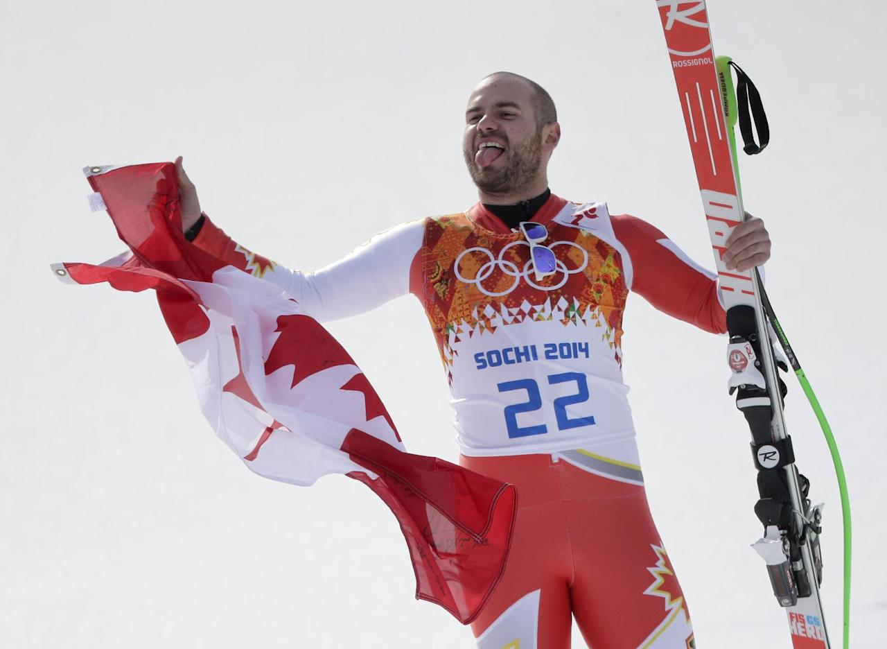Canada's Jan Hudec celebrates his joint bronze medial in the men's super-G at the Sochi 2014 Winter Olympics, Sunday, Feb. 16, 2014, in Krasnaya Polyana, Russia. (AP Photo/Charlie Riedel)