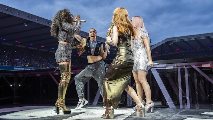 The Spice World tour won rave reviews, despite initial sound problems in Dublin and Cardiff
