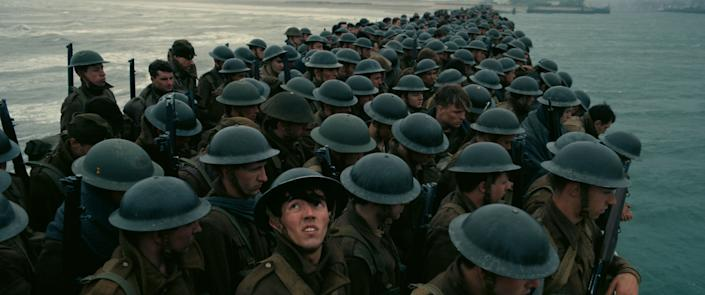 """Directed by Christopher Nolan &bull; Written by Christopher Nolan<br><br>Starring Tom Hardy, Fionn Whitehead, Cillian Murphy, Mark Rylance, Kenneth Branagh, Harry Styles and James D'Arcy<br><br><strong>What to expect:&nbsp;</strong>For """"Dunkirk,""""&nbsp;Christopher Nolan <a href=""""http://www.hollywoodreporter.com/lists/hollywood-salaries-2016-who-got-933037/item/hollywood-salaries-revealed-who-got-933042"""" rel=""""nofollow noopener"""" target=""""_blank"""" data-ylk=""""slk:reportedly"""" class=""""link rapid-noclick-resp"""">reportedly</a> inked the heftiest director salary in more than a decade.&nbsp;The World War II survival epic incorporated inventive shooting strategies using IMAX cameras, practical effects and hordes of extras, which sounds as Nolanian as they come.<br><br><i><a href=""""https://www.youtube.com/watch?v=F-eMt3SrfFU"""" rel=""""nofollow noopener"""" target=""""_blank"""" data-ylk=""""slk:Watch the trailer"""" class=""""link rapid-noclick-resp"""">Watch the trailer</a>.</i>"""