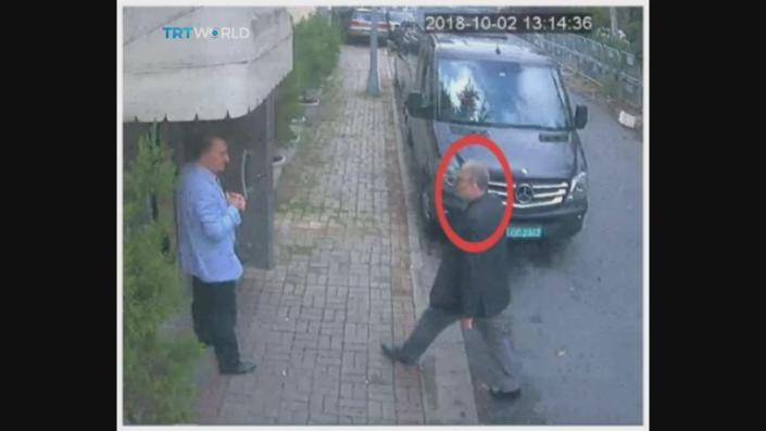 This image taken from CCTV video obtained by the Turkish broadcaster TRT World and made available on Sunday, Oct. 21, 2018, purportedly showing Saudi journalist Jamal Khashoggi entering the Saudi consulate in Istanbul, Tuesday, Oct. 2, 2018.(CCTV/TRT World via AP)